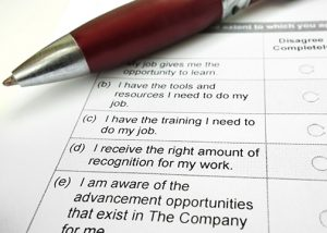 Company employee opinion survey and pen